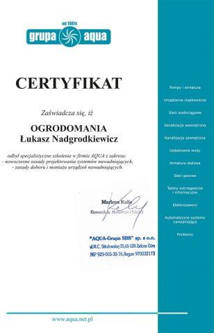 Certyfikat Grupa Aqua