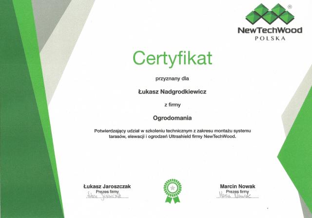 Certyfikat montażysty tarasów kompozytowych